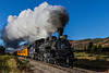 The Durango and Silverton Railroad chugs its way toward Silverton.<br /> Photo © Carl Clark