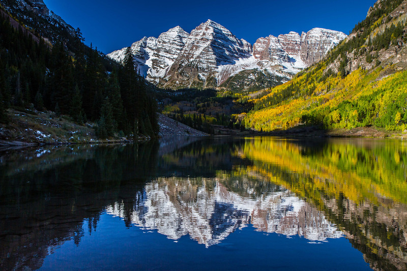 A classic morning at oft photographed Maroon Bells.<br /> Photo © Carl Clark