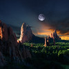 Morning Light at the Garden of the Gods with Moon and Stars