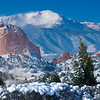 Pikes Peak at the Garden of the Gods in Winter