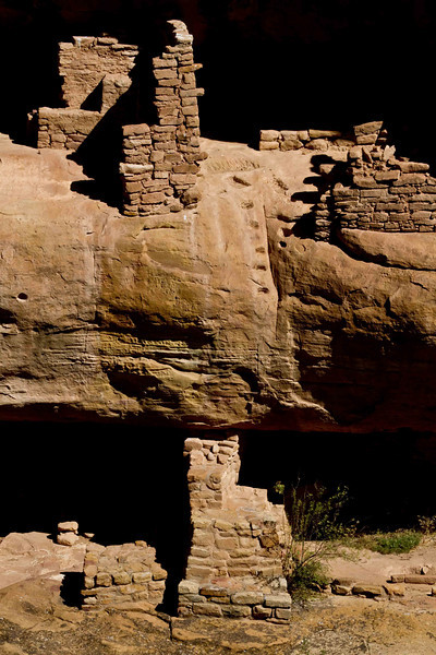 Two-story dwelling with stairway at Fire Temple in Mesa Verde.<br /> Photo © Carl Clark