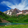 Maroon Bells Peaks at Maroon Lake with tiny tourists