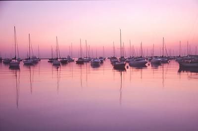 Chicago boats at dawn