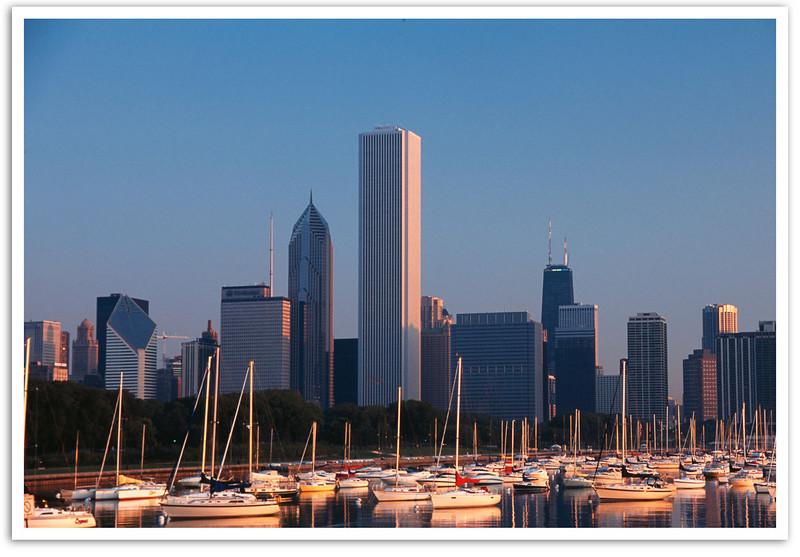 First light on Chicago Skyline