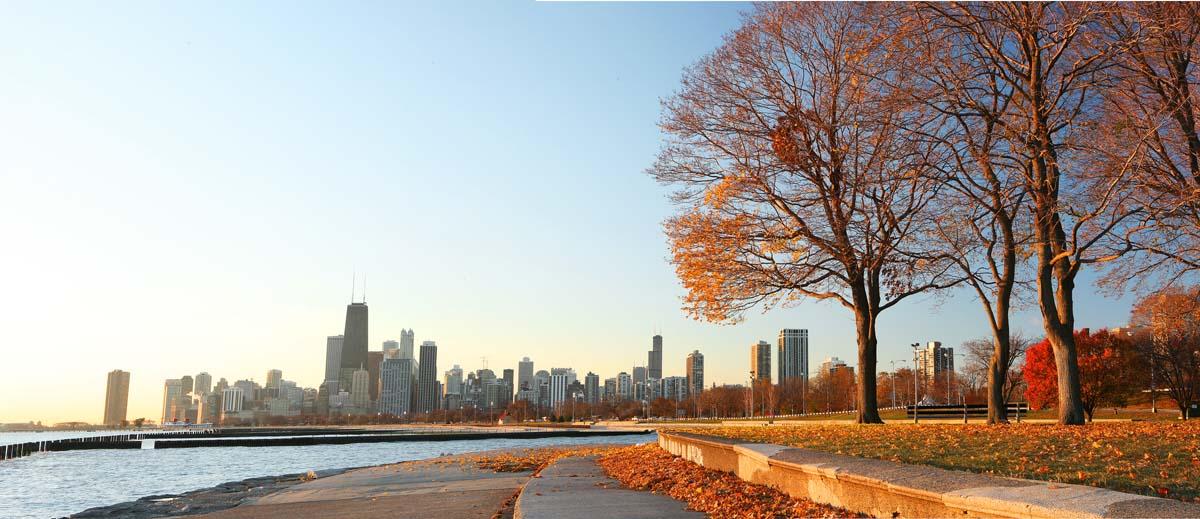 Crisp autumn morning in Chicago