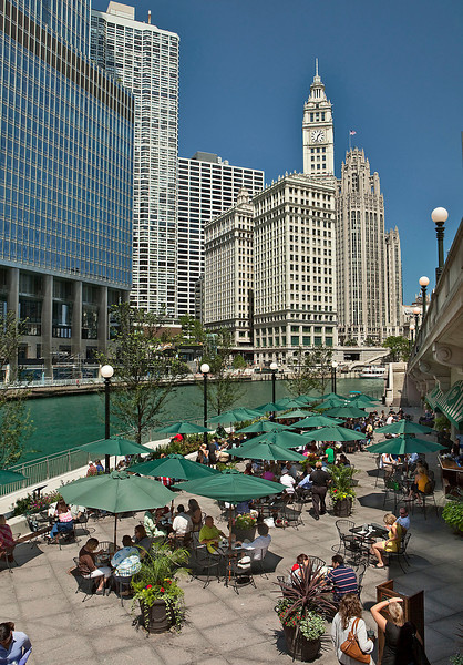 Chicago Riverwalk and Wrigley Building