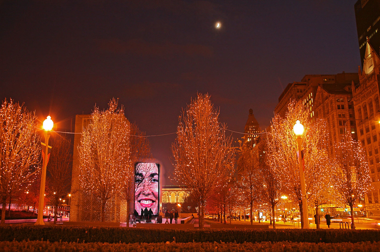Crown Fountain with Holiday Lights
