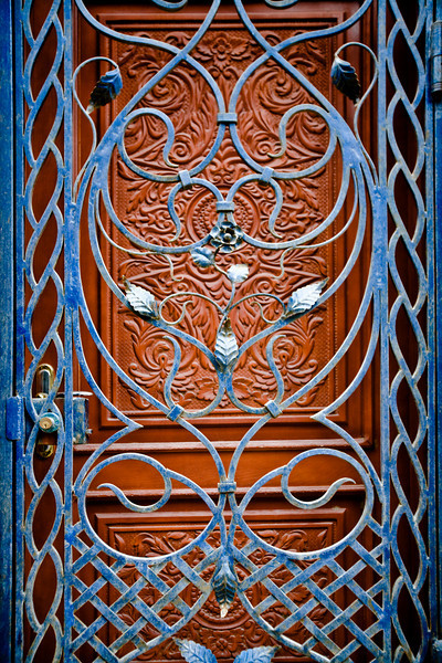 Ornate ironwork door in the Old City, Baku