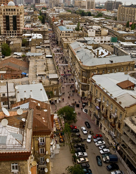 View of Nizami Street from the roof of the ISR Plaza Baku