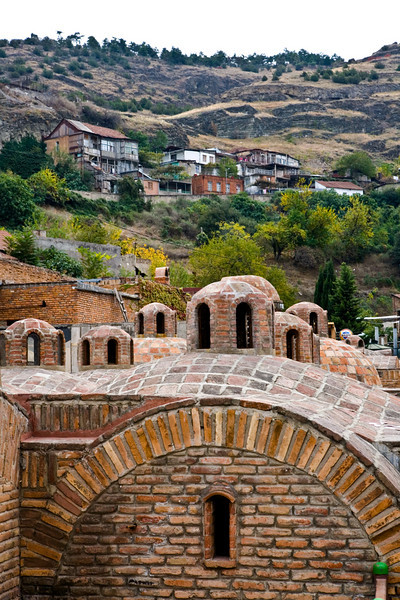 Turkish Bath domes with landscape in the Old City, Tbilisi