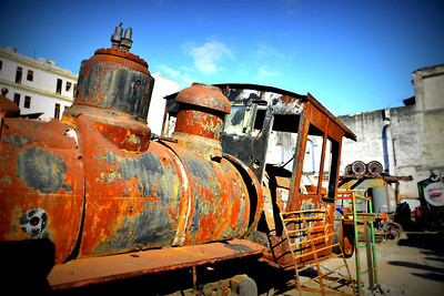 Rusting train in breakers yard in Havana