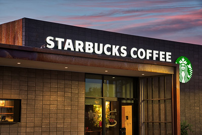 New modern Starbucks Mesa, AZ sunset. 2017