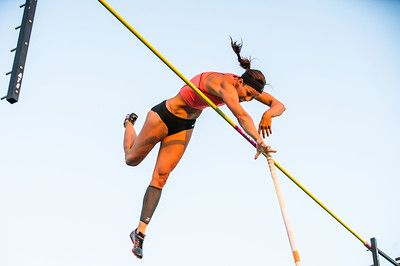 Clearing the pole, April Steiner-Bennett American Olympian Pole Vaulter