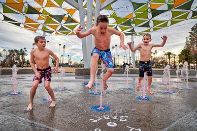 Kids at Play in the New Mesa Splashpad