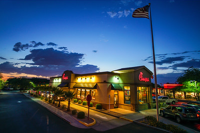 Chick-fil-A Mesa location at sunset with American flag 2017