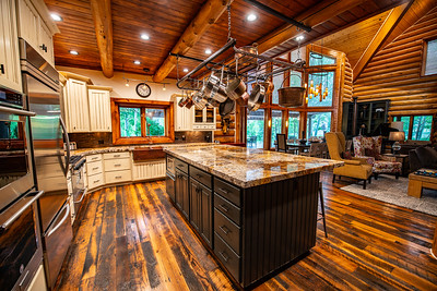 Interior kitchen focus in beautiful Hobble Creek Canyon Lodge, UT 2018