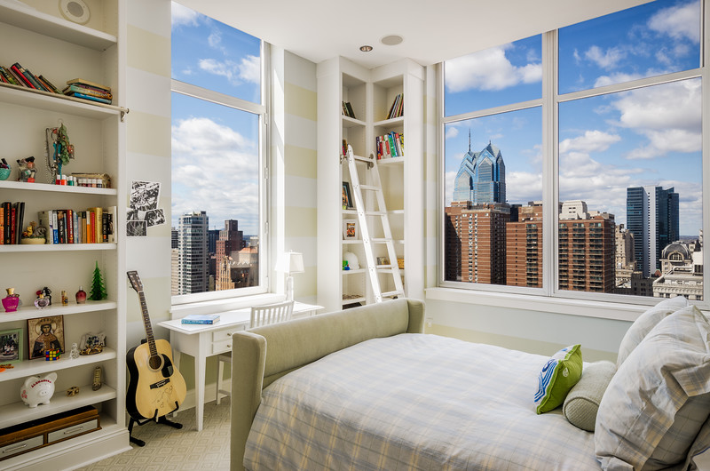 Symphony Penthouse Bedroom with a view of Liberty Towers, Liberty Place, Kurfiss Sotheby's International Realty in Philadelphia, PA