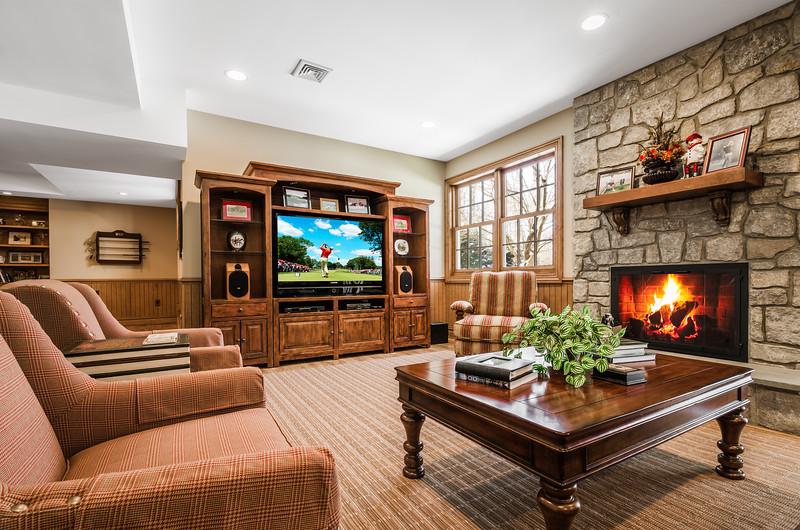 NJ Residential Real Estate Photography of a Basement Living Room for Kienlen Lattmann Sotheby's International Realty in Bernadsville, New Jersey