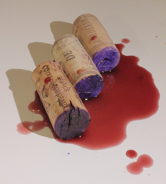 Purple stained Bordeaux corks