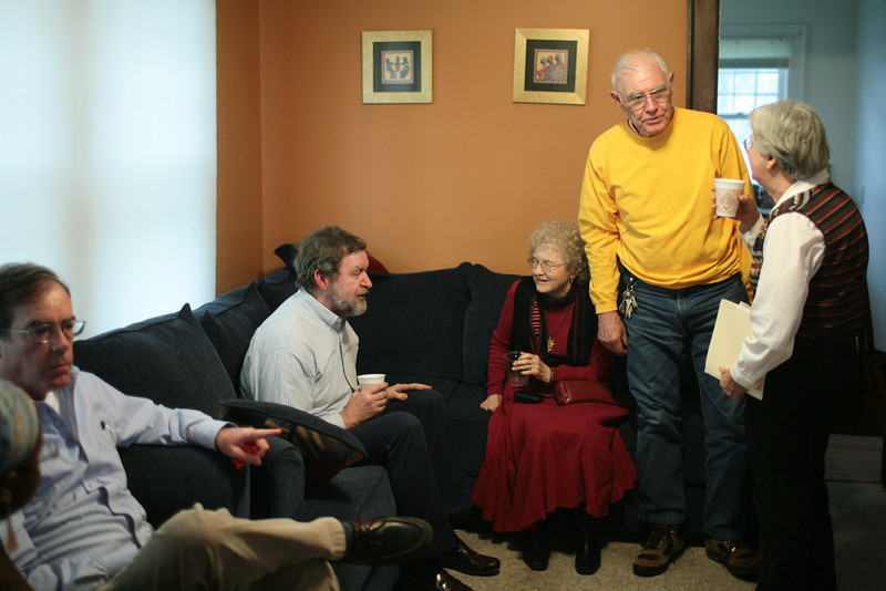 A group of students and faculty gathered at the AAAS House to remember retired DePauw professor and civil rights activist Russell Compton on April 4, 2008, what would have been his 99th birthday.  Compton died in December of 2007.  PHOTO BY ALEX TURCO