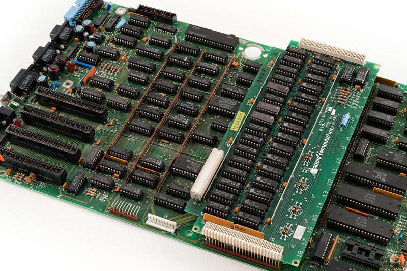 Apple /// motherboard, with a 5V 256kB memory module. Circa 1981.