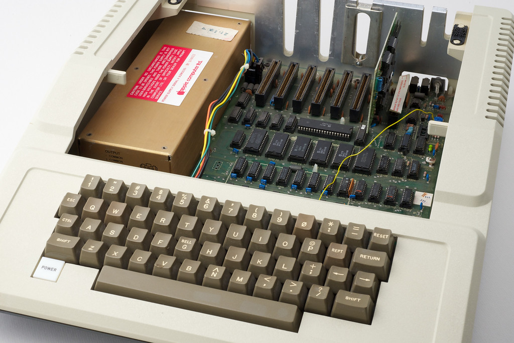 Apple ][ pictures. My ][ europlus, with some extra wiring due to a late patch by Apple...