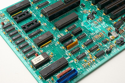 Apple ][ pictures. Apple //e enhanced motherboard.