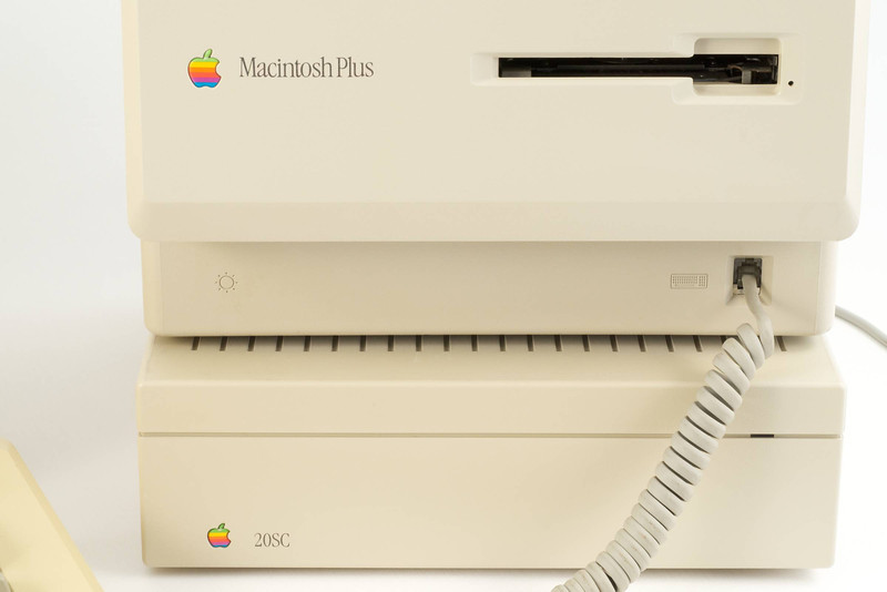 Macintosh Plus (1986) with its HD20SC (SCSI) hard drive.<br /> DSC_5114