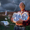 "The Lightning Catchers.  -  The man in this photo, Mr. Bronson, was 92 at the time it was made. Walt  was instrumental in helping me capture electricity on film which became the blueish areas in the jars. The woman was the local historian in Boonton NJ, My studio was above the town library where she worked. The image was used on the cover of a book I wrote for Watson Guptil called ""Digital Wizardry"" along with countless stock uses around the world."