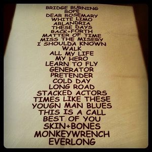 Disclaimer;  I did not take this photo of the amazing concert setlist
