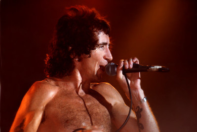 Bon Scott of AC/DC, Cumberland County Auditorium, Fayetteville, 1978