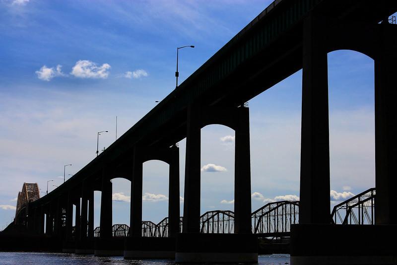 International bridge between Sault Ste Marie Canada and Sault Michigan.