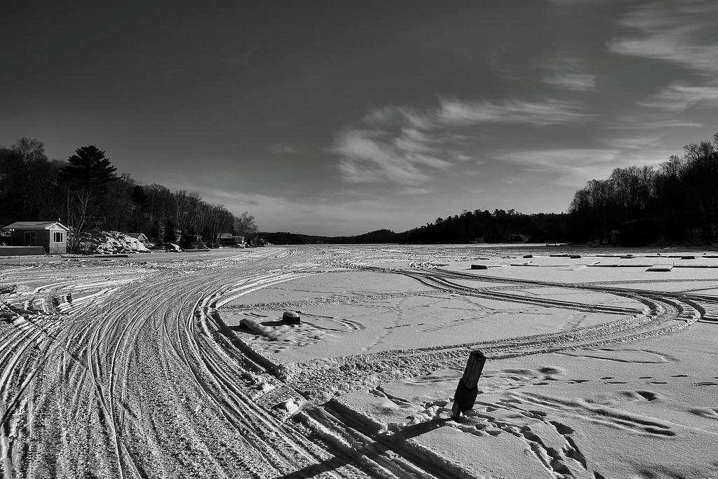 Ski-doo tracks on Trout Lake