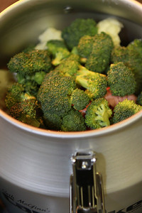 Clean and cut your Broccoli and Cauliflower to but over the Bacon Layer. The flavor created by the smoked bacon will help flavor the Broccoli and Cauliflower.   My New Can Cooker was put to use for the first time tonight. ,,,,,,,,,,,,,,,,, :-)