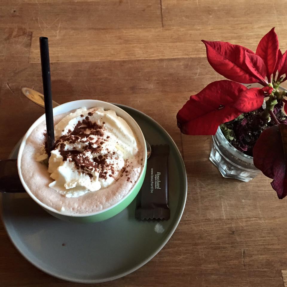 Hot cocoa at cafe and mini pointsettia