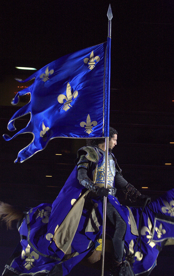 """Come Joust My Lord! The Blue Knight at the Medieval Times Dinner theatre in Buena Park, California. <a href=""""http://www.medievaltimes.com/"""">http://www.medievaltimes.com/</a>"""