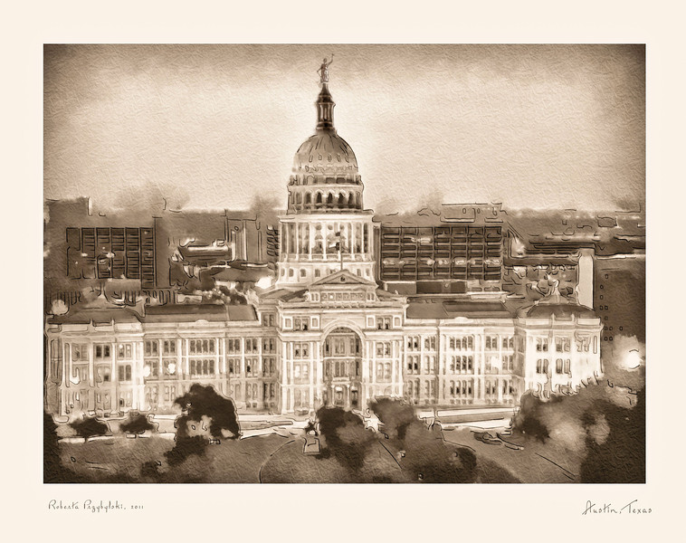Capitol Impressions by Roberta Przybylski, water color paper in sepia