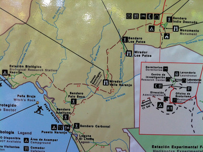 A map of Santa Rosa National Park Costa Rica.