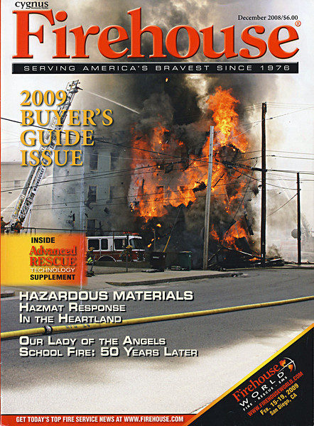 Fire house magazine is one of the premier trade journals of the firefighting industry with readership of 1.5 million career and volunteer firefighters. The magazine is available by subscription. The photo above is of a structure fire in the city of Woonsocket Rhode Island that occurred in May of 2008. As the roof began to collapse I began taking pictures. I didn't think at the time that the photo would grace the cover of a popular magazine.