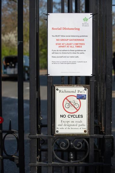 Social distancing signs during coronavirus pandemic