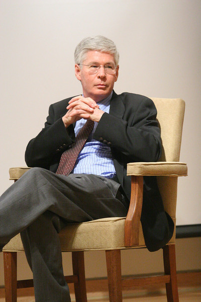 """Peabody award winning documentary film producer David Taylor presents a Crain Lecture titled """"Filming the Presidency: A visit with a documentary filmmaker,"""" March 5th 2008.   PHOTO BY ALEX TURCO"""