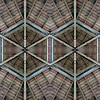 Planet 15 b) start frame<br /> American Bandstand Planet, variation 5<br /> Two versions of the reconstructed (for symmetry purposes) 8x4 inch center secion of the bandstand ceiling, stacked one on top of the other.