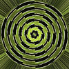Agave mosaic 02 01 Polar coordinates<br /> I applied the Polar Coordinates tool or filter, then added a layer of Accented edges to give, among other things, a variation of color and contrast across the image that was lacking in the starting mosaic and the PC conversion.<br /> <br /> Created January 29, 2013