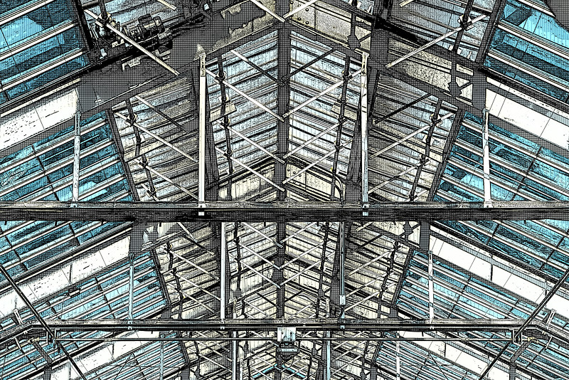 Patterns - conservatory glass roof and supports - filtered version