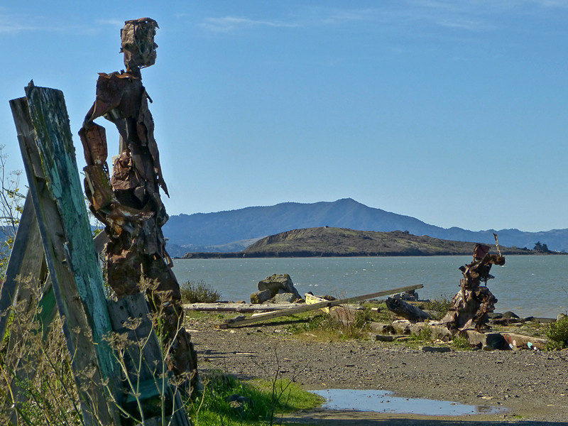 Brooks Island, Mt. Tamalpias. From Albany<br /> Art by Osha Neumann & Jason DeAnonis<br /> Albany State Marine Reserve, Alameda Co., CA 2/15/2012