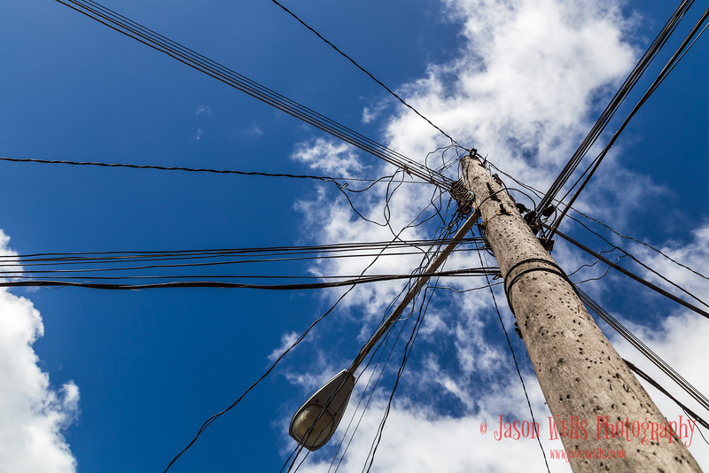 Looking up on a street in Sancti Spíritus (central Cuba).