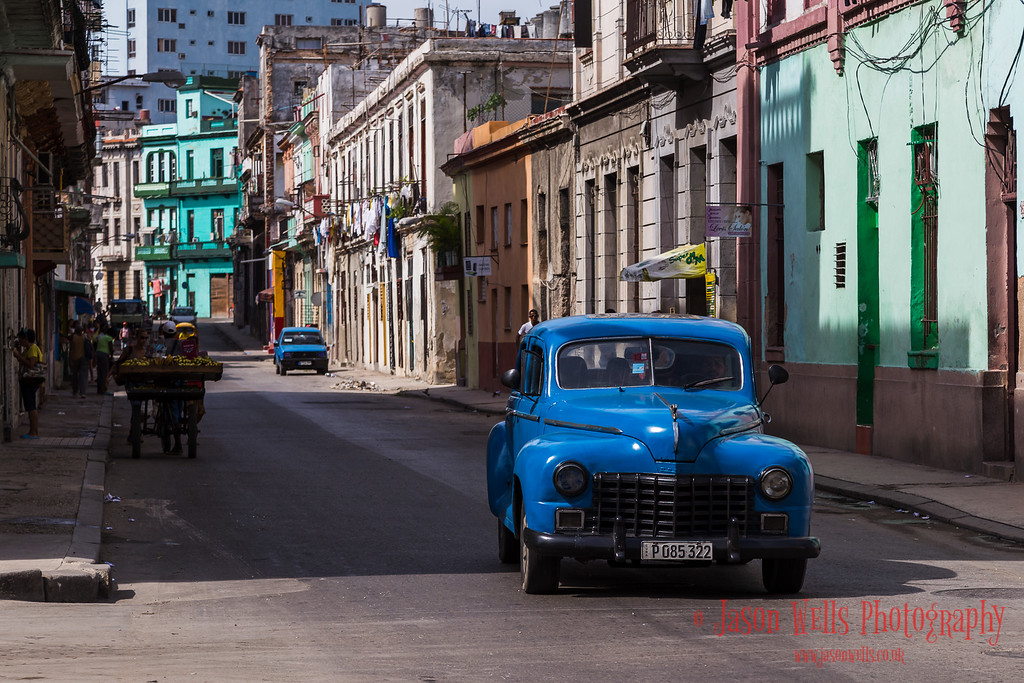 Blue old timer in Centro Havana