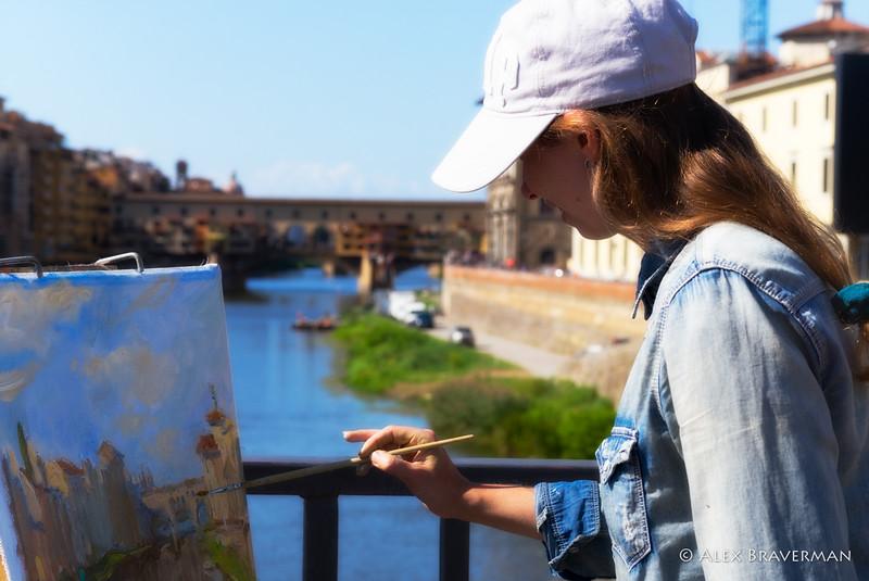 painting Ponte Vecchio up close