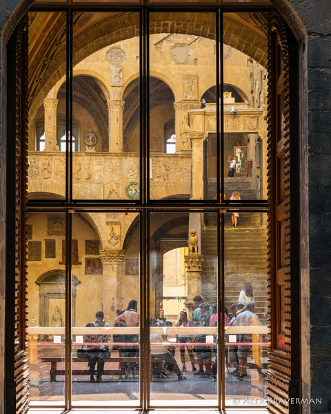 On their left they passed the magnificent stone pile of the Bargello, with its colorful<br /> governor's courtyard...