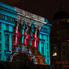 Funnels projected onto the Cunard Building